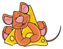 Мышь спать и обнимая one piece сыра Стоковое Изображение