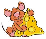 Мышь спать и обнимая one piece сыра Стоковые Изображения
