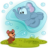 Мышь слона и воздуходувка пузыря иллюстрация вектора