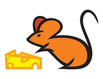 Мышь с сыром Стоковые Фото