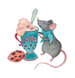 Мышь с Latte стоковые фотографии rf