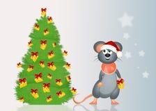Мышь украшает рождественскую елку с сыром иллюстрация штока