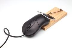 Мышь черного компьютера стоковая фотография rf