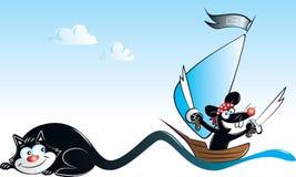 Мышь черного кота и пирата Стоковые Изображения RF