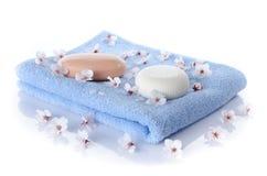 Мыла на полотенце Стоковая Фотография