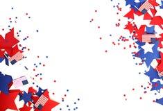 Мы День независимости, 4-ое июля, День памяти погибших в войнах, патриотизм и ветераны, праздник страны, флаги и swezy стоковое фото rf