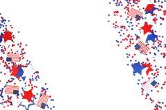 Мы День независимости, 4-ое июля, День памяти погибших в войнах, патриотизм и ветераны, праздник страны, флаги и swezy бумажное б стоковое изображение