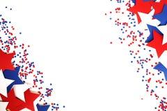 Мы День независимости, 4-ое июля, День памяти погибших в войнах, патриотизм и ветераны, праздник страны, флаги и swezy бумажное б стоковая фотография rf