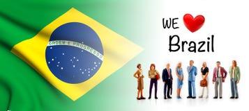 Мы любим Бразилию, представление группы людей a рядом с бразильским флагом иллюстрация штока