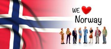 Мы любим Норвегию, представление группы людей a рядом с флагом Norvegian иллюстрация вектора