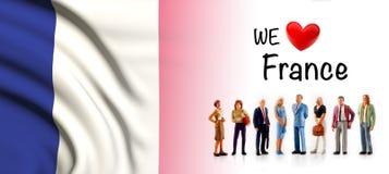 Мы любим Францию, представление группы людей a рядом с французским флагом бесплатная иллюстрация