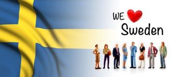 Мы любим Швецию, представление группы людей a рядом с шведским флагом иллюстрация штока