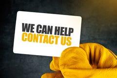 Мы можем помочь на визитной карточке Стоковое Изображение RF