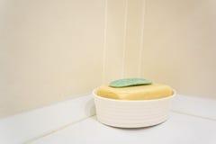 Мыло на пластичном блюде в ванной комнате Стоковые Фотографии RF