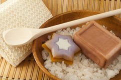 Мыло, пучок, соль моря в cleansers деревянных шара на предпосылке Стоковое фото RF