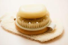 Мыло щетки тела и scrub перчатка Стоковое фото RF