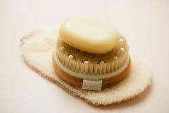 Мыло щетки тела и scrub перчатка Стоковые Фотографии RF