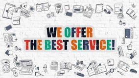 Мы предлагаем самую лучшую концепцию обслуживания с значками дизайна Doodle иллюстрация вектора