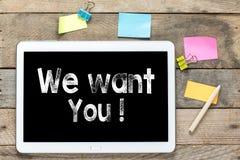Мы хотим вас на планшете Стоковые Изображения