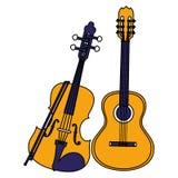 Мюзикл аппаратур гитары и скрипки стоковые фото