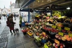 Мюнхен, Германия, 15-ое сентября 2018: Молодая туристская девушка с собакой щенка на рынке цветка Мюнхена стоковые фото