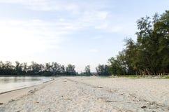 Мягкая волна ударяя песчаный пляж под ярким солнечным днем Стоковое Изображение