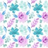 Мягкая голубая пурпурная картина watercoor стоковое фото