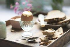 Мягкая идея рецепта фотографии еды вареного яйца Стоковое фото RF
