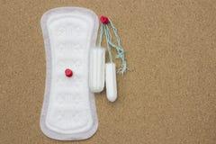 Мягкая нежная защита на дни женщины критические, гинекологический цикл менструации Пусковая площадка менструации санитарная и шты стоковые изображения
