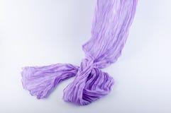 Мягкая semitransparent фиолетовая ткань пропуская на белой предпосылке Стоковое Изображение RF