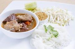 Мягкие лапши риса фокуса с пряным свининой sauce Стоковая Фотография RF