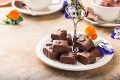 Мягкие помадки шоколада нуги Стоковые Изображения