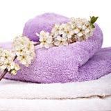 Полотенца с цветками Стоковые Изображения