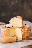 Мягкий французский сыр на деревянной разделочной доске, отрезка куске, вилке, corns красного перца Стоковое Фото
