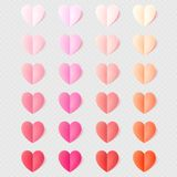 Мягкий цвет сложил бумажные сердца изолированные на прозрачном свете 10 eps иллюстрация вектора