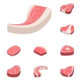 Мясника отрезка еды сырого мяса стейка говядины иллюстрация вектора ингридиента куска bbq барбекю отбивной котлеты красного свеже иллюстрация штока