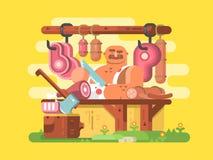 Мясник режет мясо иллюстрация вектора