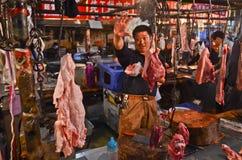Мясной рынок в Чэнду, Китае Стоковое фото RF