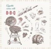 Мясо барбекю, сосиски и вектор руки пива вычерченный иллюстрация вектора