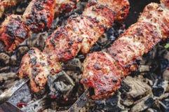 Мясо барбекю с углем Стоковые Изображения RF