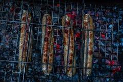 Мясо варя на гриле с открытыми огнем и углями стоковые изображения