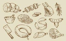 Мясо вектора нарисованное рукой Стоковое Фото