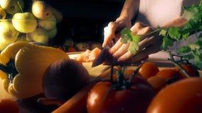 Мясо вырезывания молодой женщины на деревянной доске акции видеоматериалы