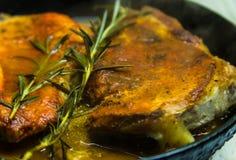 Мясо в сковороде Стоковое Изображение RF
