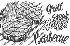 Мясо еды, стейк, жаркое зажарило, каллиграфический эскиз иллюстрации вектора руки текста нарисованный реалистический Стоковое Изображение RF