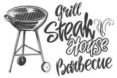 Мясо еды, стейк, жаркое зажарило, каллиграфический эскиз иллюстрации вектора руки текста нарисованный реалистический Стоковые Изображения RF