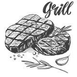 Мясо еды, стейк, комплект жаркого, каллиграфический текст, рука нарисованный эскиз иллюстрации вектора реалистический Стоковые Изображения RF