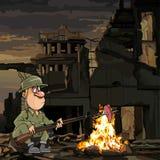 Мясо жарить в духовке солдата мультфильма на огне пока сидящ в руинах иллюстрация вектора