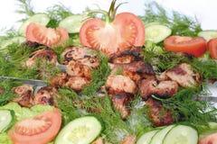 Мясо зажаренное в духовке на углях Стоковые Изображения