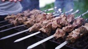Мясо зажаренное на протыкальниках на гриле видеоматериал